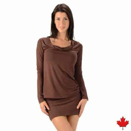 Women's Bamboo Long Sleeve Drape Neck Top – Made in Canada