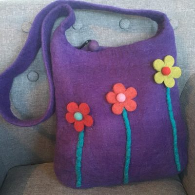 fair trade felt bag flowers