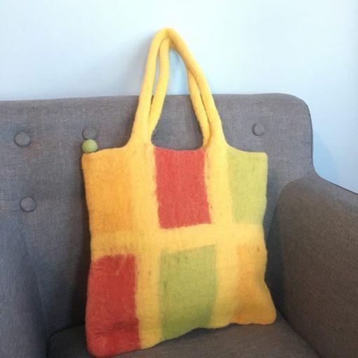 yellow felt purse