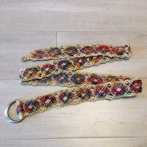 hemp recycled silk belt fair trade