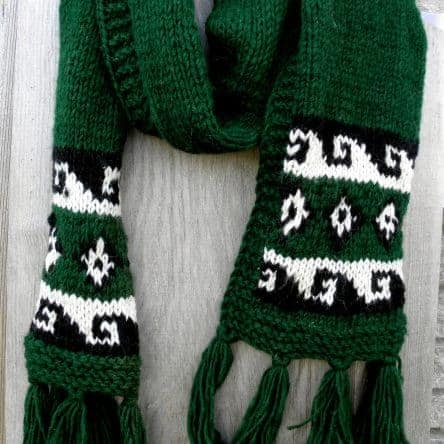 Forest Green 100% Wool Scarf Fair Trade Nepal