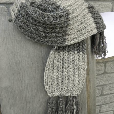 100% Wool Grey Striped Scarf Fair Trade Nepal