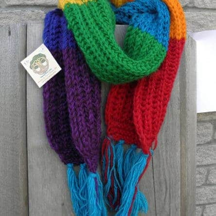 100% Wool Chunky Rainbow Scarf Fair Trade Nepal