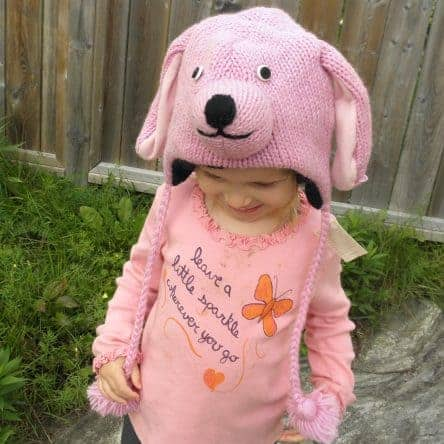 100% Wool Pink Puppy Hat with earflaps and fleece lining