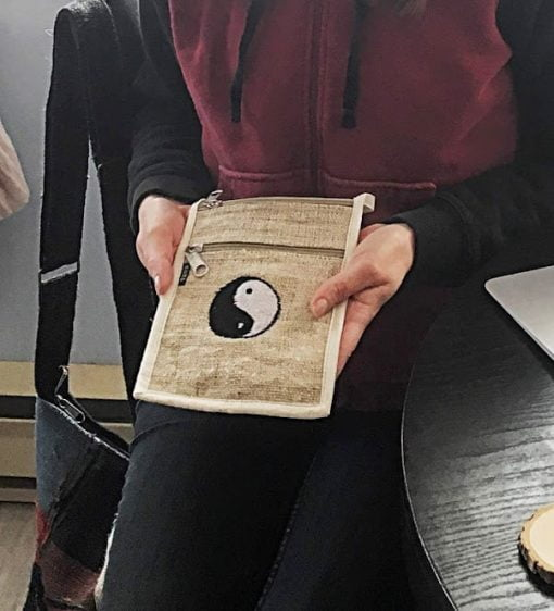 fair trade hemp yin yang passport bag