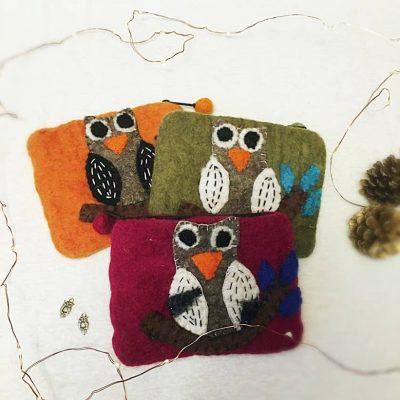 fair trade owl change purse