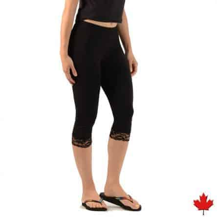 Women's Bamboo 3/4 Lace Leggings, made in Canada
