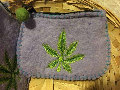 hemp leaf felt coin pouch