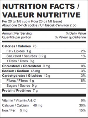 High Protein Hemp Cookie Mix Nutritional Information