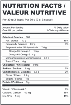 Raw Shelled Hemp Seeds Nutritional Information