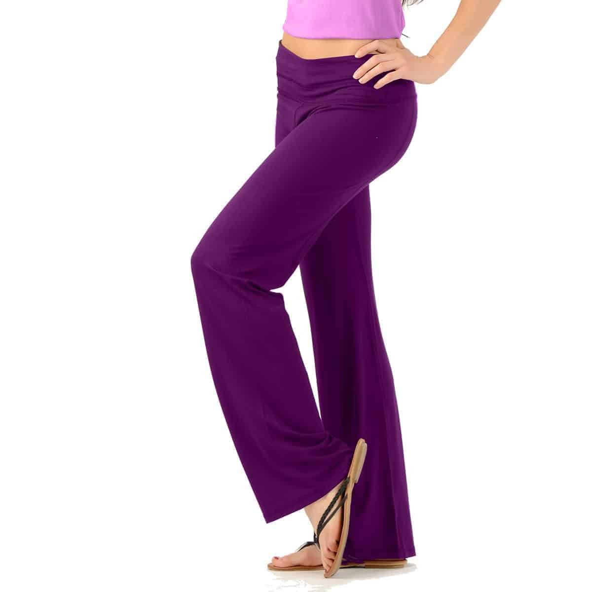 Bamboo Yoga Pants, Made In Canada -Plum