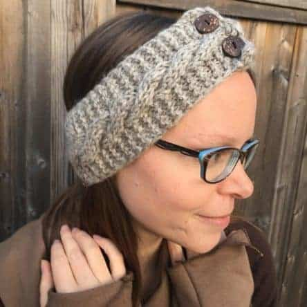 100% Fair Trade Wool Grey Hand Knit Headband