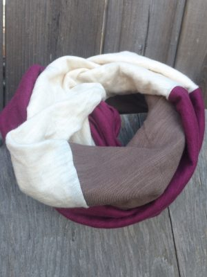 locally made Colour block Infinity scarf | Organic cotton & Bamboo slub jersey