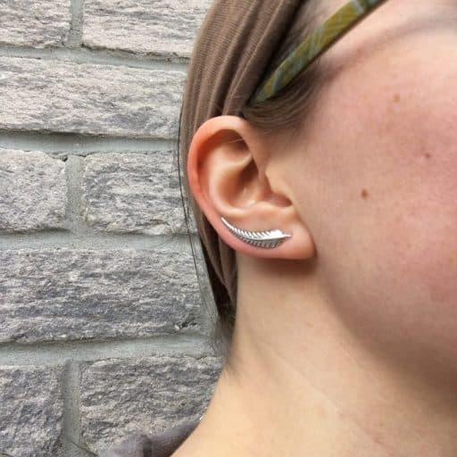 Sterling silver leaf ear crawler earrings