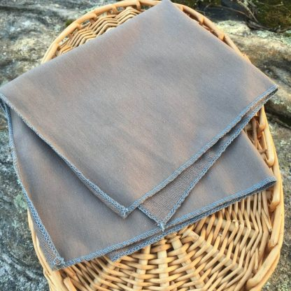 Single Grey Bamboo Facecloth Blue Stitching