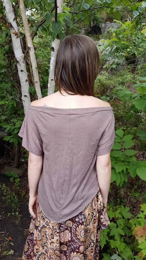 Grey Organic cotton bamboo batwing tee shirt back