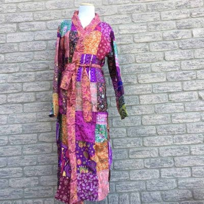 Sari silk robe Patchwork Fair Trade Nepal