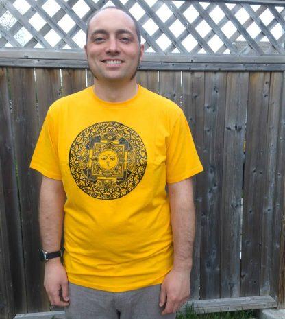 Fair Trade Mens T-Shirt Mandala Yellow