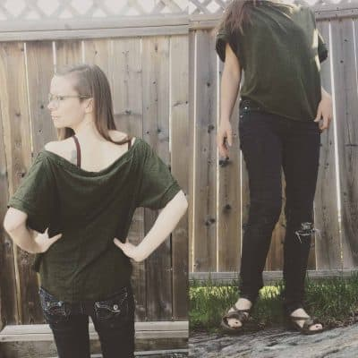Organic cotton bamboo batwing shirt forest green