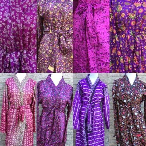 Purple sari silk robes Fair Trade