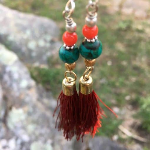 Fair Trade beaded tassel earrings