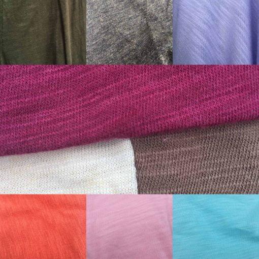 Bamboo organic cotton slub jersey fabric colours