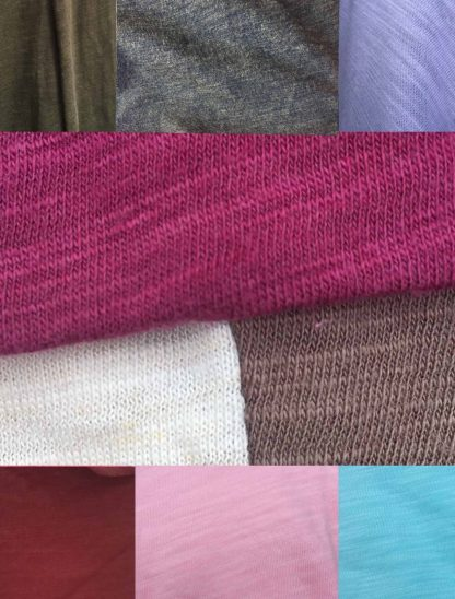 From top left: moss, heather forest, lilac, berry, heather almond, driftwood grey, nova red, light pink, robins egg blue