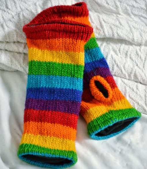 rainbow wool arm warmers wristlets