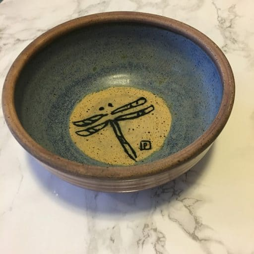 dragonfly pottery bowl made in parry sound