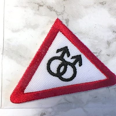 Embroidered Iron On Patch - Male/Male Triangle