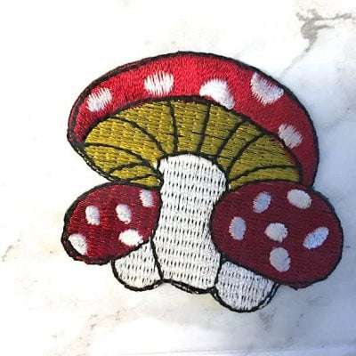 Embroidered Mushroom Iron On Patch Fair Trade Thailand