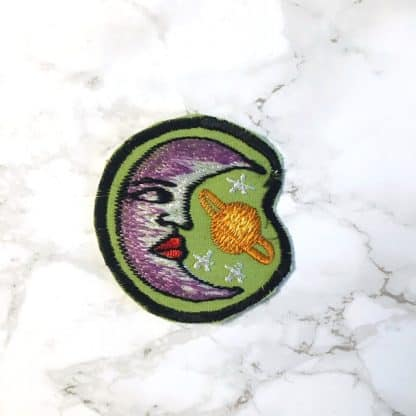 Embroidered Patch Moon Planet Fair Trade Nepal 3-4inches