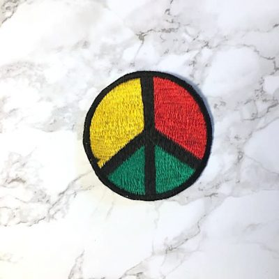 Rasta peace sign patch fair trade