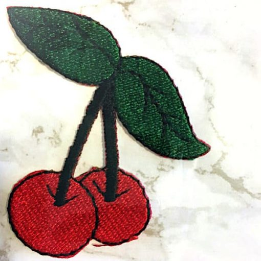Embroidered Iron On Patch - Cherries