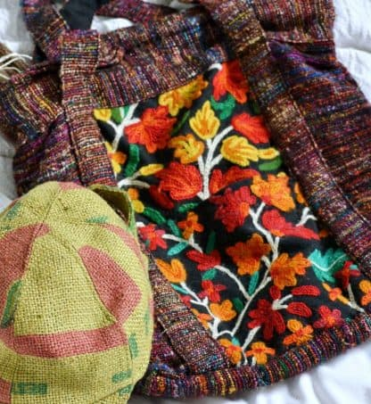 Large Hemp and Recycled Silk Handbag