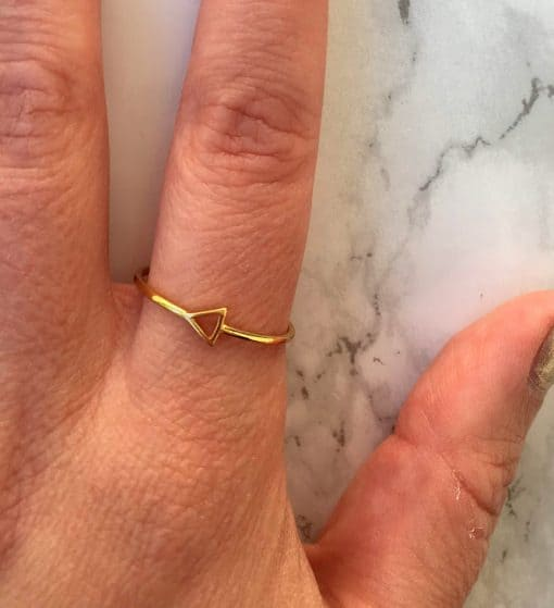 gold triangle ring ethical jewelry