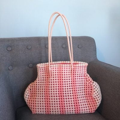 Two tone pink recycled fair trade shoulder bag