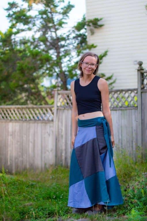 patchwork tencel wrap skirt