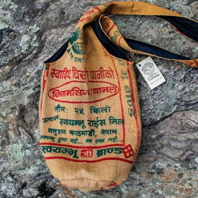 fair trade shoulder bag recycled rice bags jute