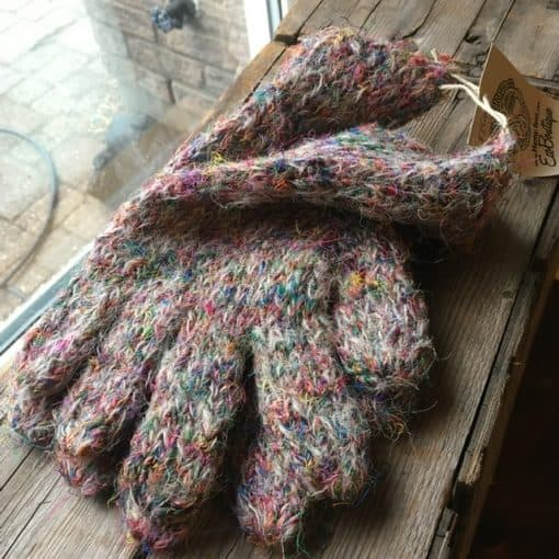 Eco Gloves Fair trade recycled silk gloves Pink