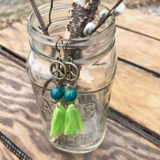 fair trade tassel earrings peace