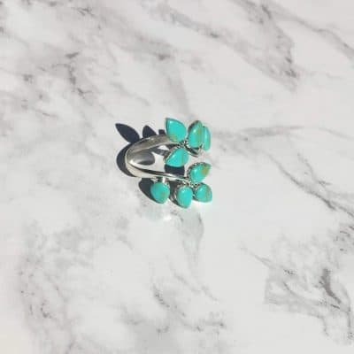 sterling silver turquoise branch leaves ring fair trade