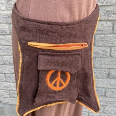 Fair trade peace sign hip bag