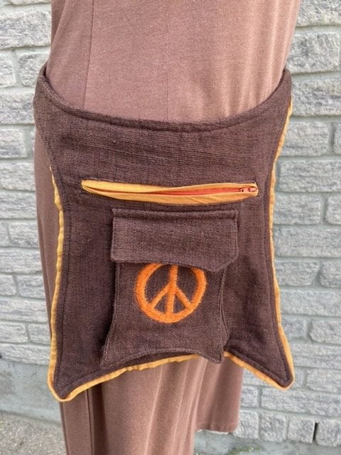 Fair trade peace sign hip bag